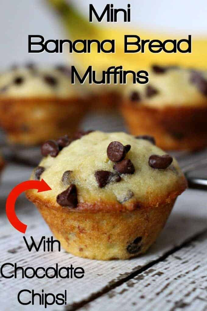 Mini Banana Bread Muffins with chocolate chips