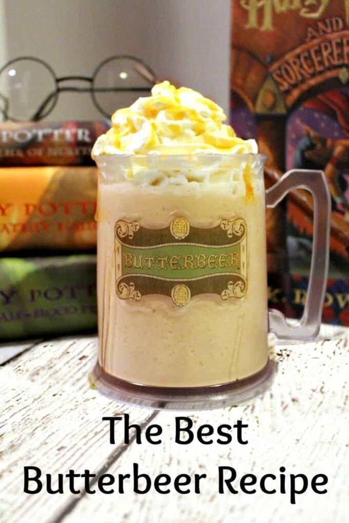 Frozen Butter beer in a Harry Potter mug in front of Harry Potter Books