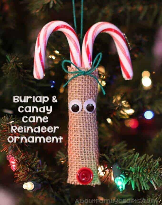 Candy Cane Burlap Reindeer