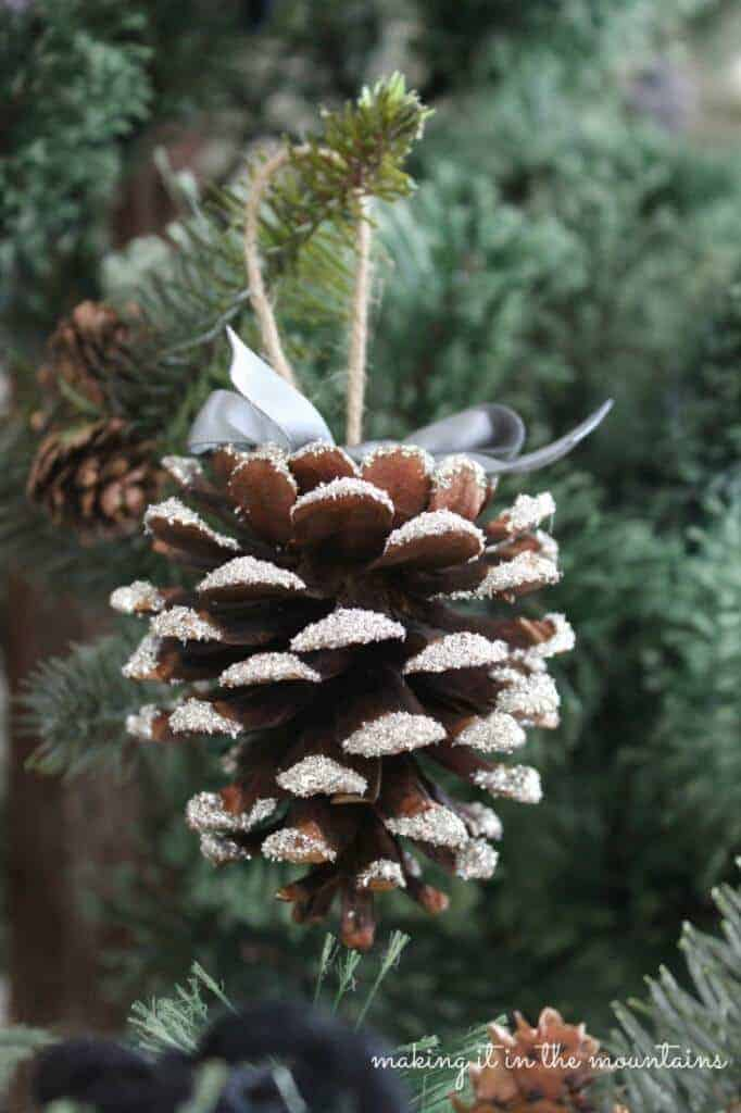 Glass Glitter Pine Cone Ornaments by Making it in the Mountains