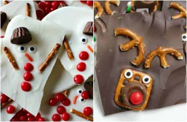 Melted Snowman and Rudolph Chocolate Bark