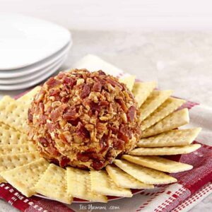 bacon cheese ball with crackers