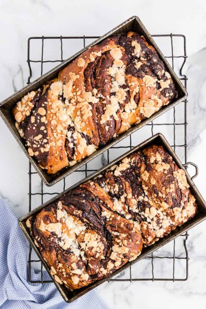 Chocolate Babka in two loaf pans