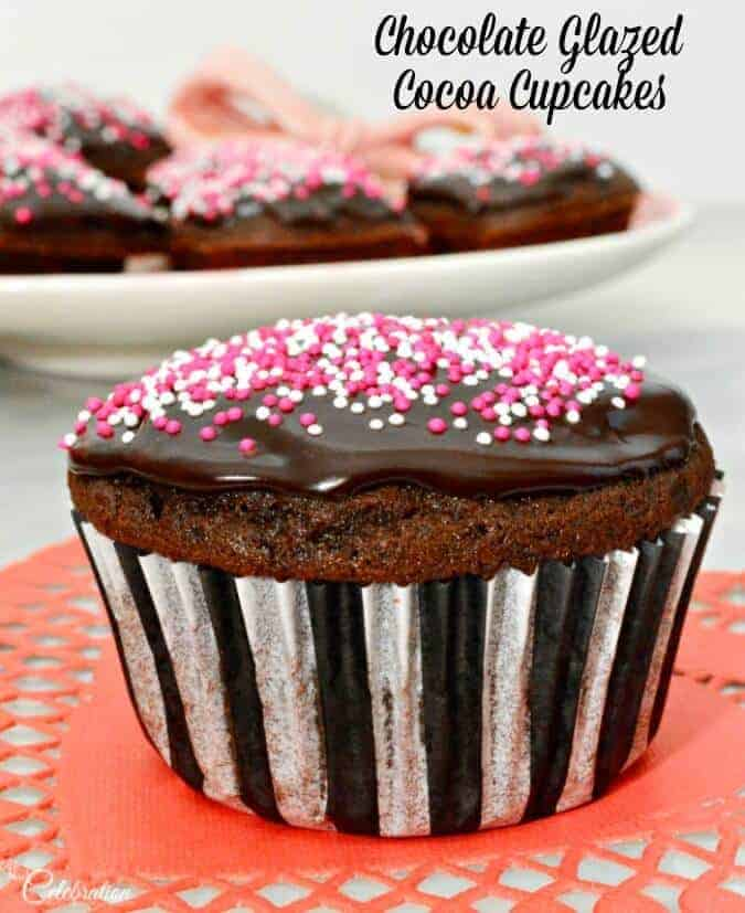 Chocolate Glazed Cocoa Cupcakes by Little Miss Celebration
