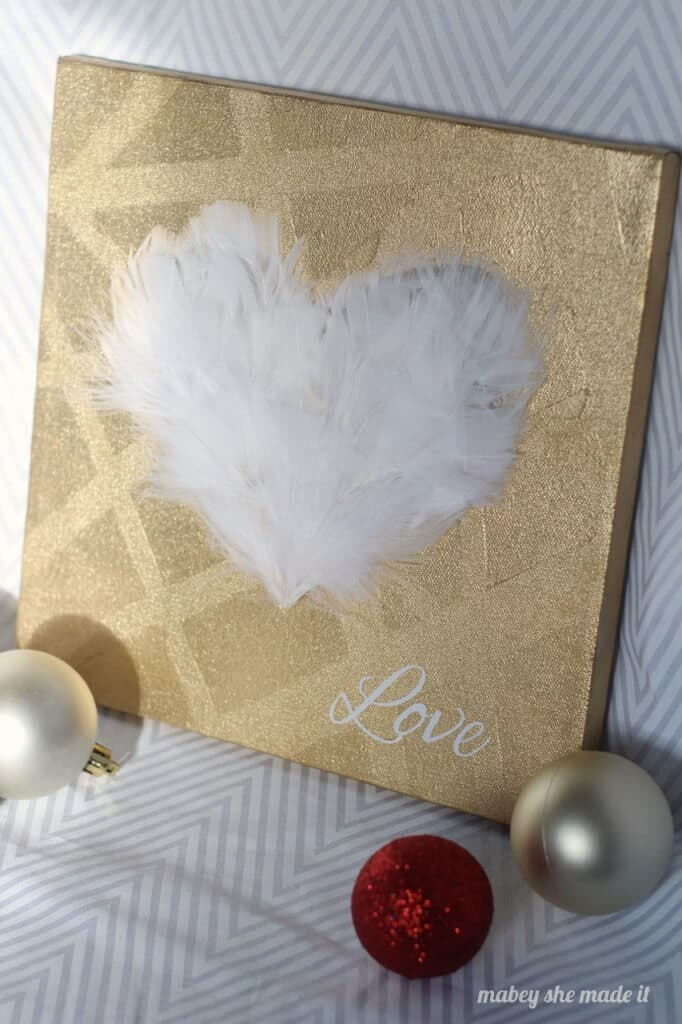 Feather Heart Canvas by Mabey she Made It