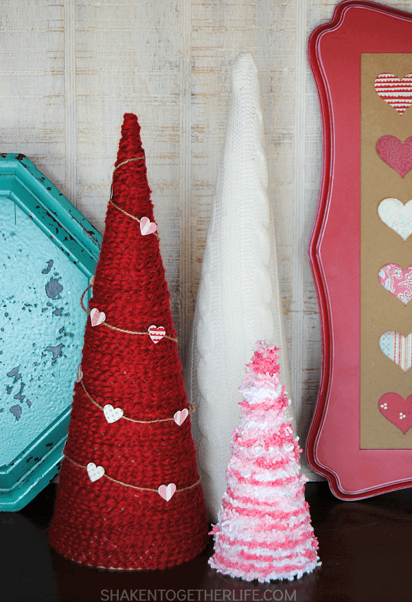 Valentine Yarn Wrapped Trees by Shaken Together