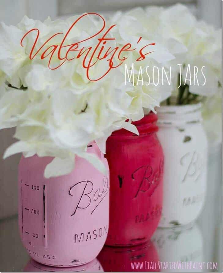 Valentines Painted Mason Jars