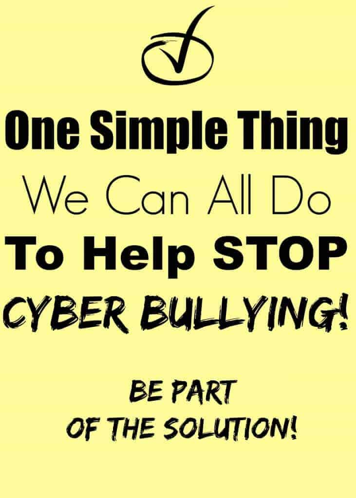 Did you know there is ONE thing you can do NOW to help stop cyber bullying?\
