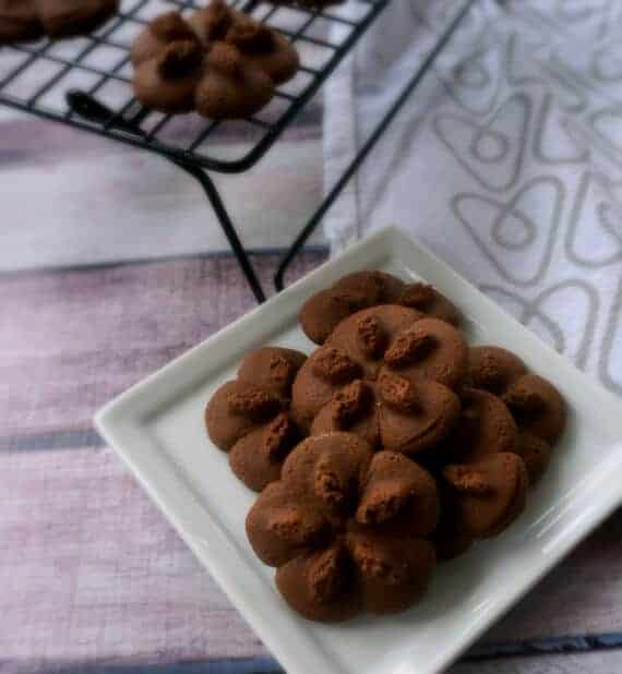 Chocolate Almond Spritz Cookies by The Pintertest Kitchen