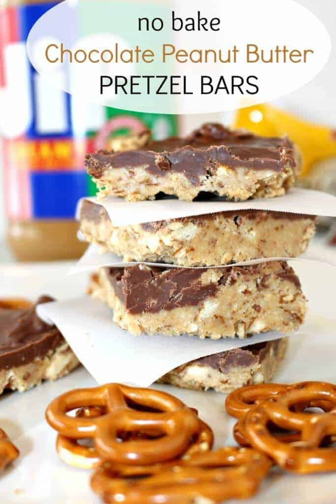 Easy no bake chocolate peanut butter pretzel bars