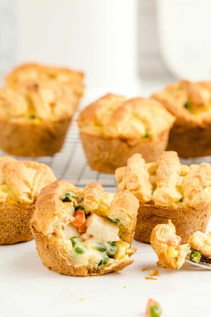 Mini chicken pot pie muffins