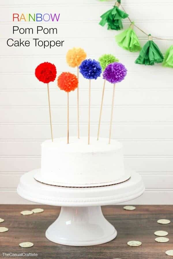 Rainbow Pom Pom Cake Topper by the Casual Craftlete