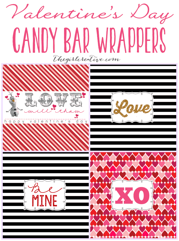 Valentines Day Printable Candy Bar Wrappers by The Girl Creative