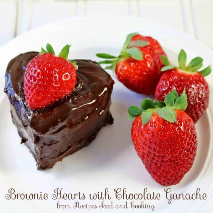 chocolate brownie hearts with chocolate ganache and strawberries