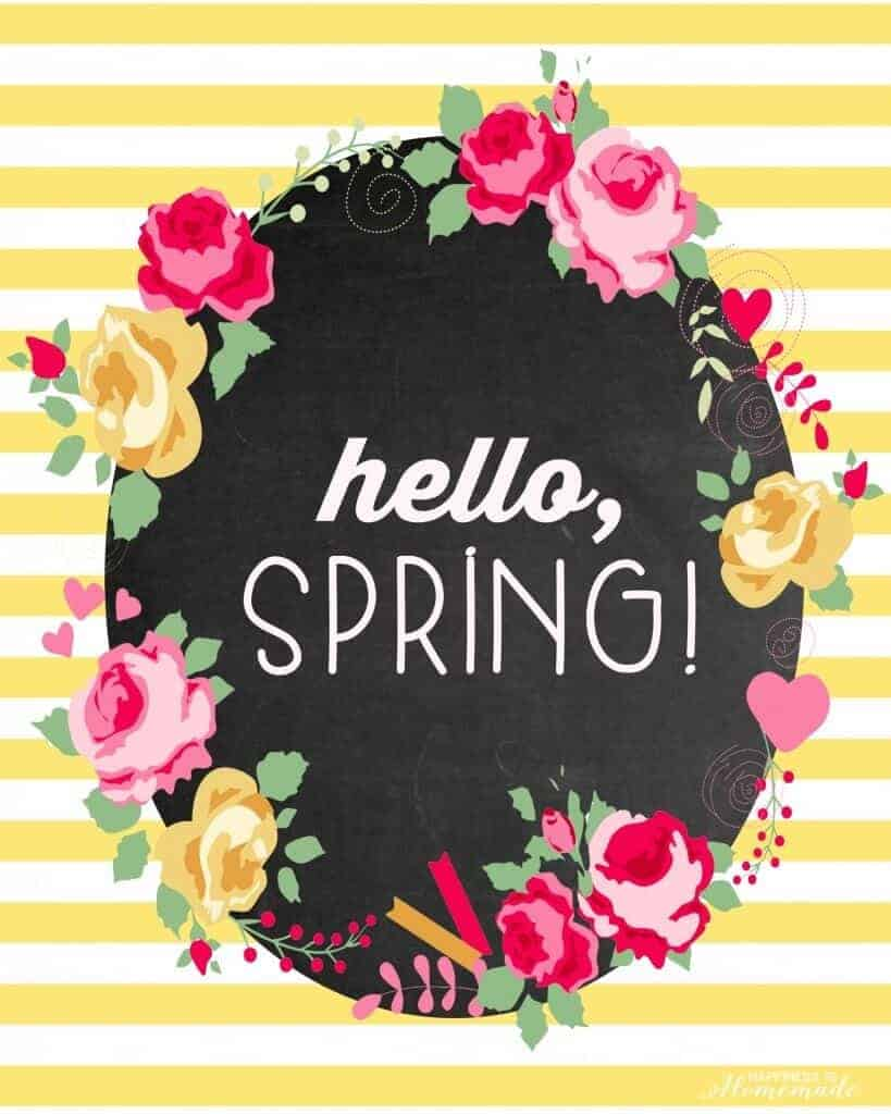 Hello Spring free printable by Happiness is Homemade