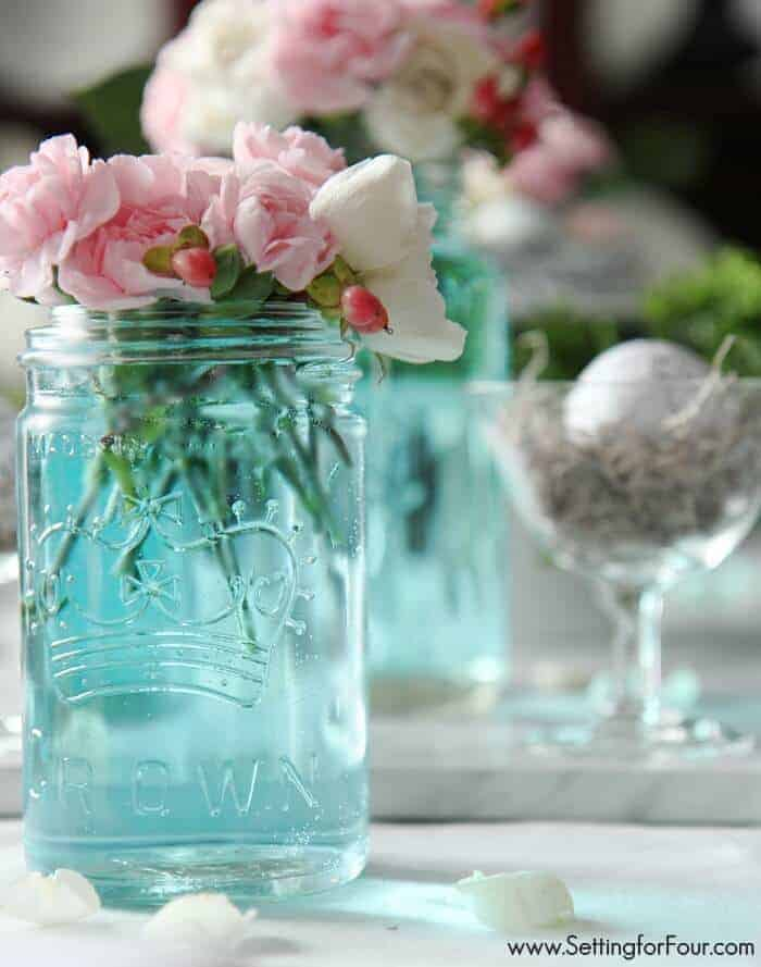 How to tint mason jars blue by Setting for Four