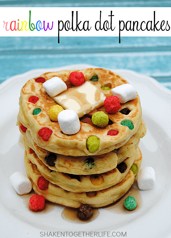 Rainbow Polka Dot Pancakes by Shaken Together