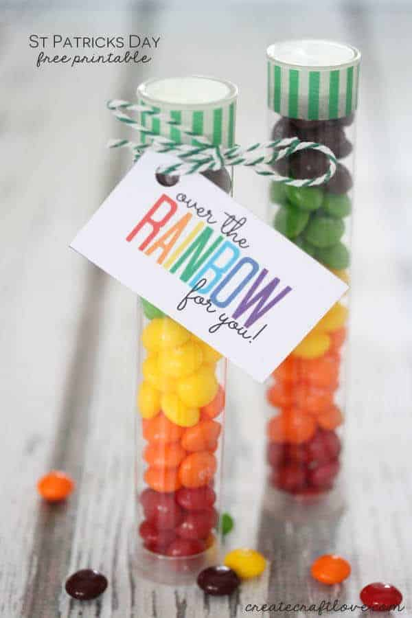 Rainbow Treat Tubes with Free Printable by Create Craft Love