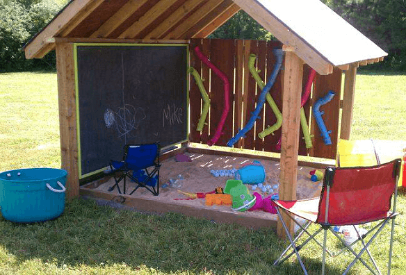 This outdoor playhouse has it all from Crafty Morning. I mean, I can't even!! This has it all!! I mean chalkboard wall, sandbox, activity wall and it is all covered to keep bad weather or harsh sun away from your little ones!
