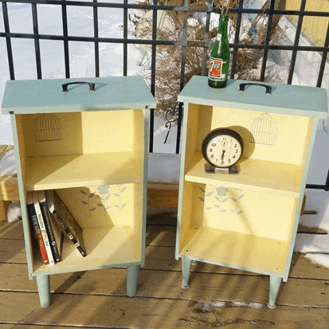Turn old drawers into side tables from Home Talk