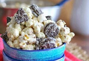Reese's Oreo Popcorn is perfect whether you are making a little or a lot - this comes together so quickly so it's easy to feed the masses.