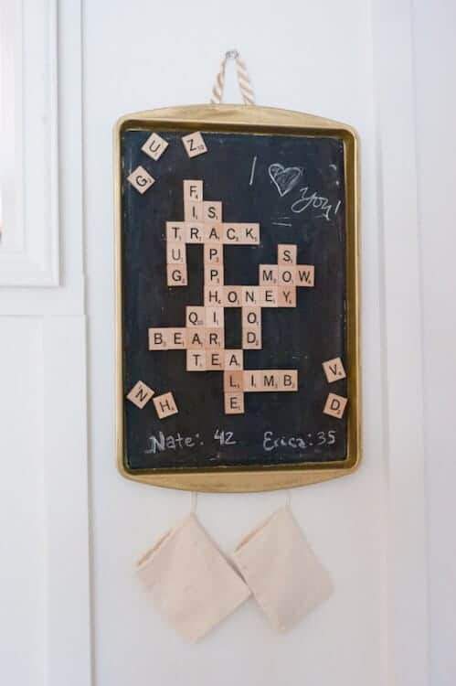 Dollar Store Magnetic Scrabble Game by Dwell Beautiful