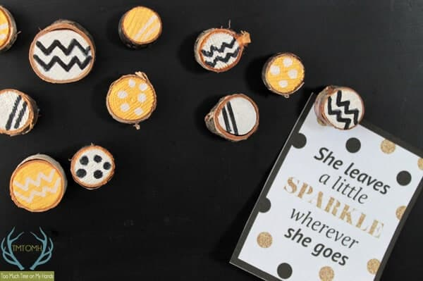 Gold and Silver Wood Slice Magnets by Too Much Time