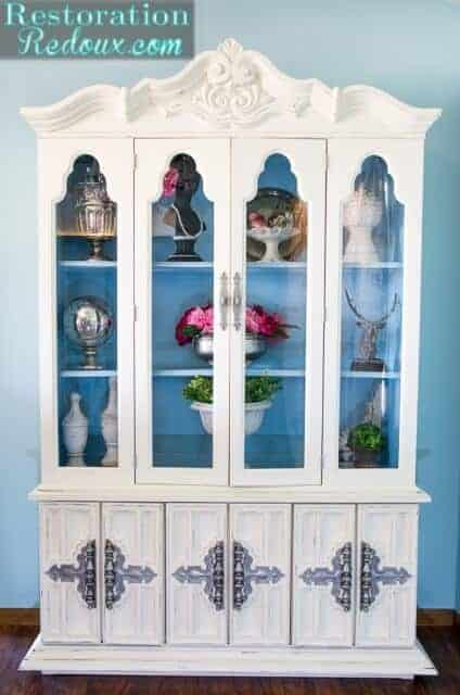 Ivory Painted China Hutch by Resoration Redoux