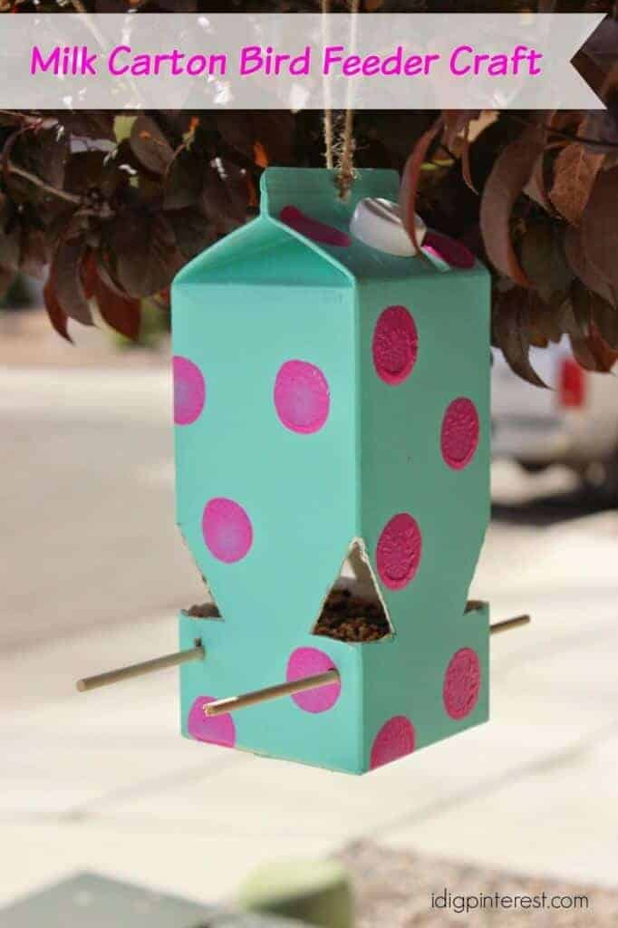 MIlk Carton Bird Feeder by I Dig Pinterest