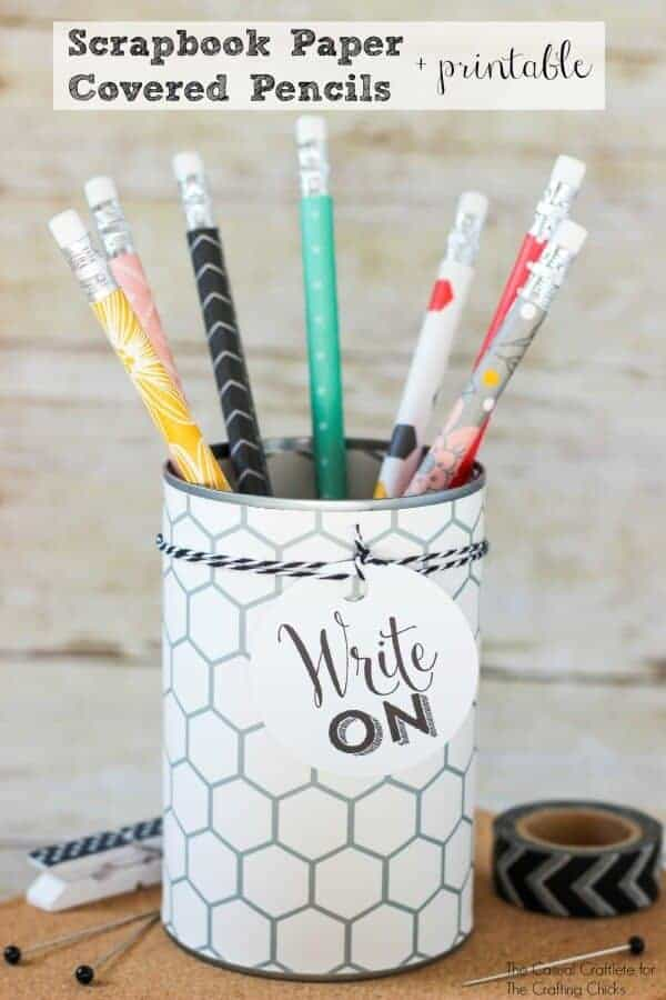 Scrapbook Paper Covered Pencils by The Casual Craftlete