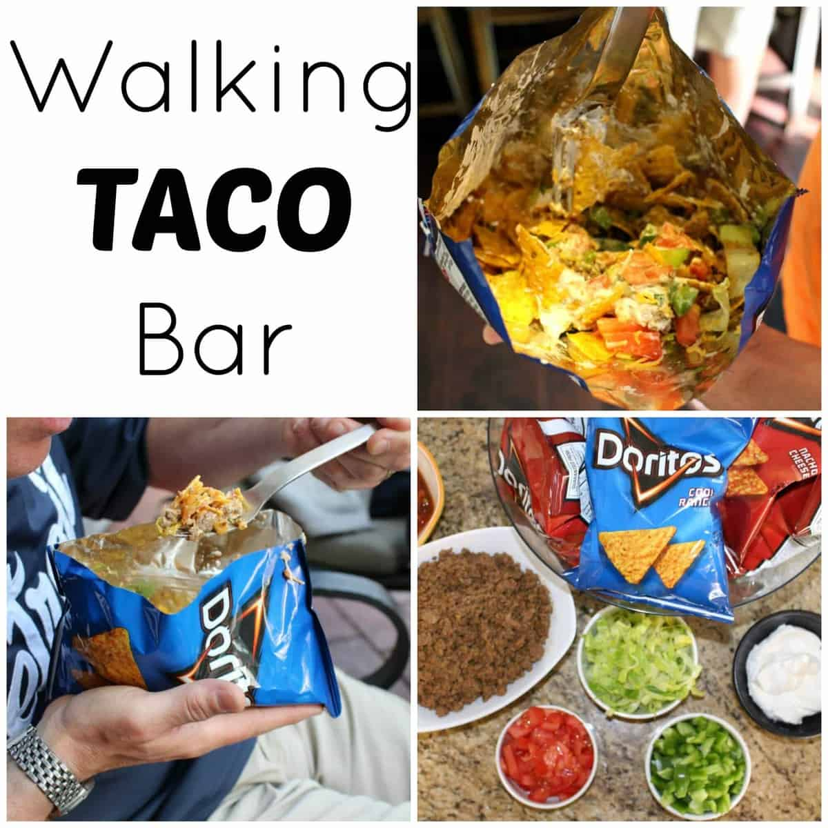 Walking taco bar is the perfect party food recipe to feed a crowd