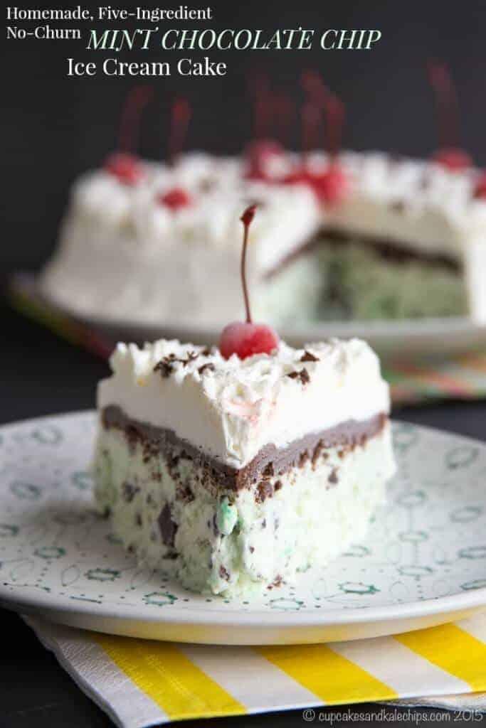 No Churn MInt Chocolate Chip Ice Cream Cake
