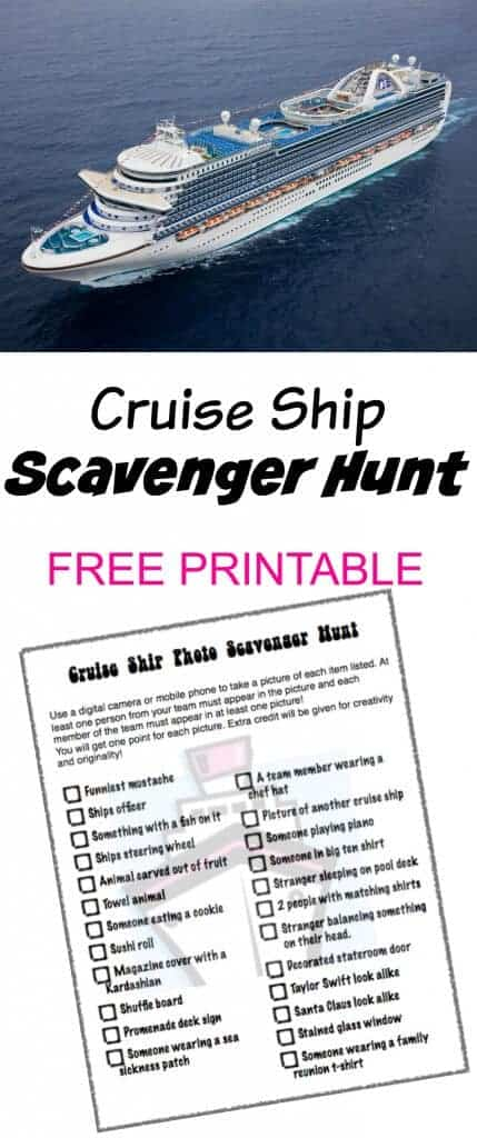 Cruise Ship Photo Scavenger Hunt - FREE PRINTABLE