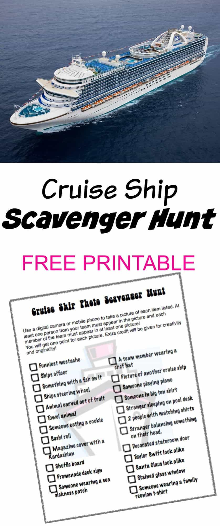 Cruise Ship Photo Scavenger Hunt
