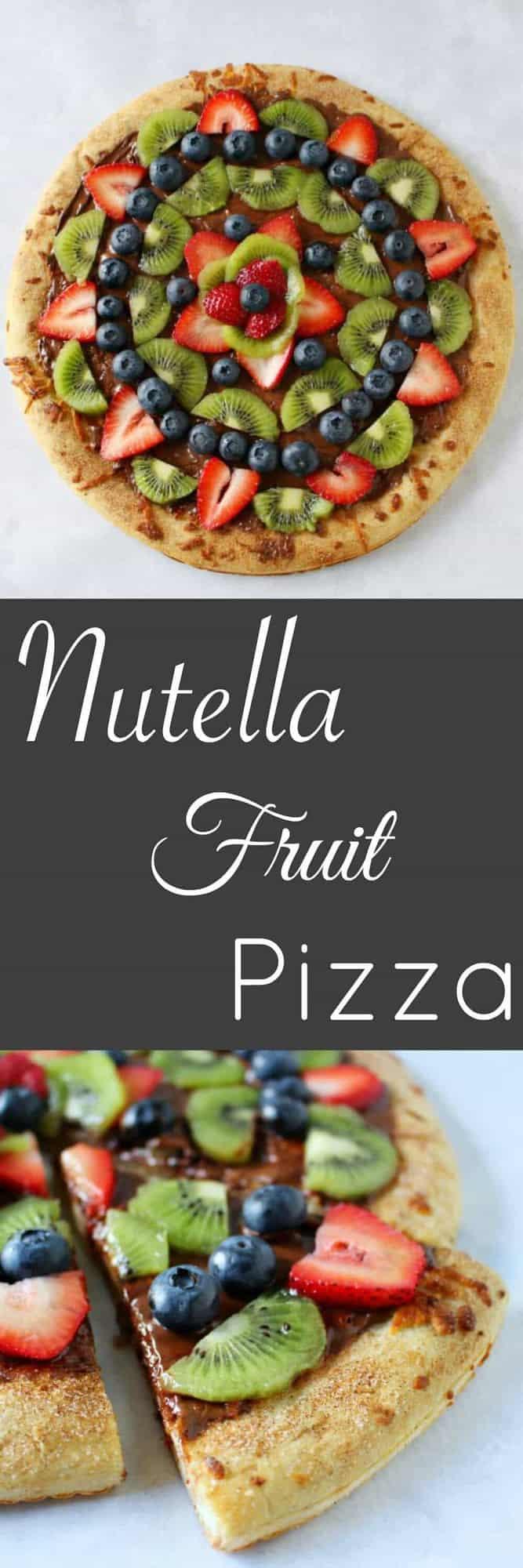 Nutella Fruit Pizza - with a cinnamon sugar crust