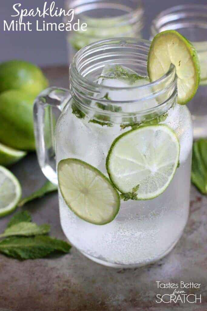 This Sparkling Mint Limeade is so fresh tasting and with a surprising fizz from the sparkling water.