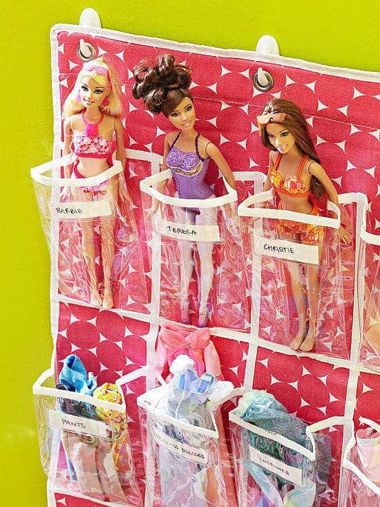 Barbie Dolls in a shoe holder