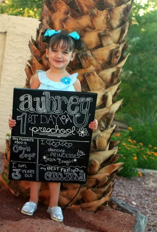 DIY Chalkboard sign for the first day of school