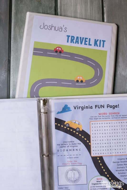 Travel Kit Binder for roads trips