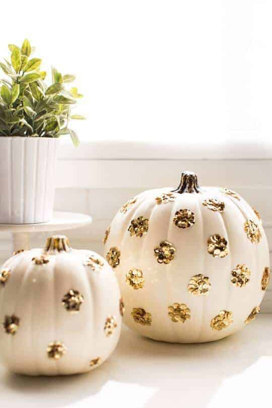 Sequin Polka Dot Pumpkins by Sugar and Cloth