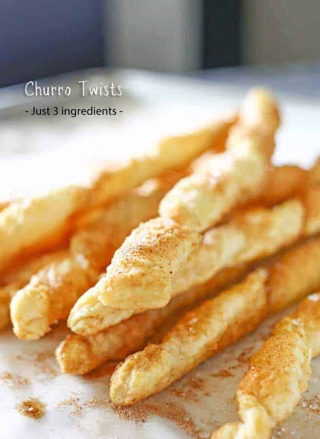 Cinnamon lovers Churro Twists with just three ingredients you can have that wonderful crisp, cinnamon packed flavor in about 15 minutes.