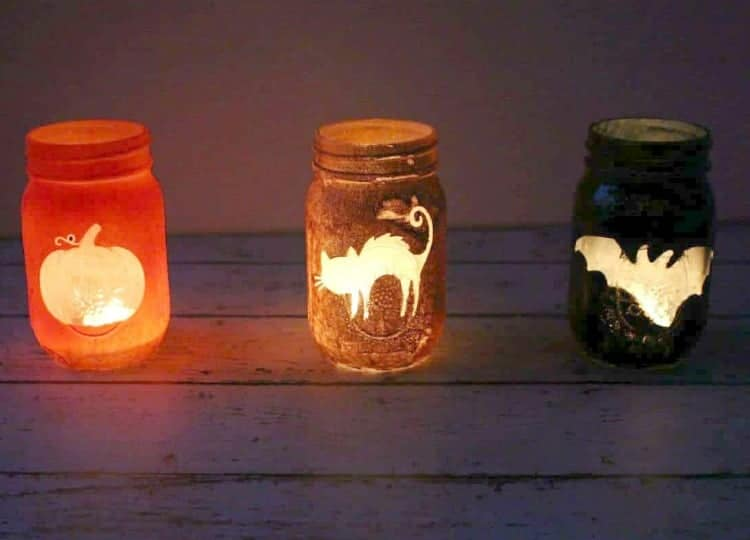 Halloween Mason Jar Luminaries Light them up