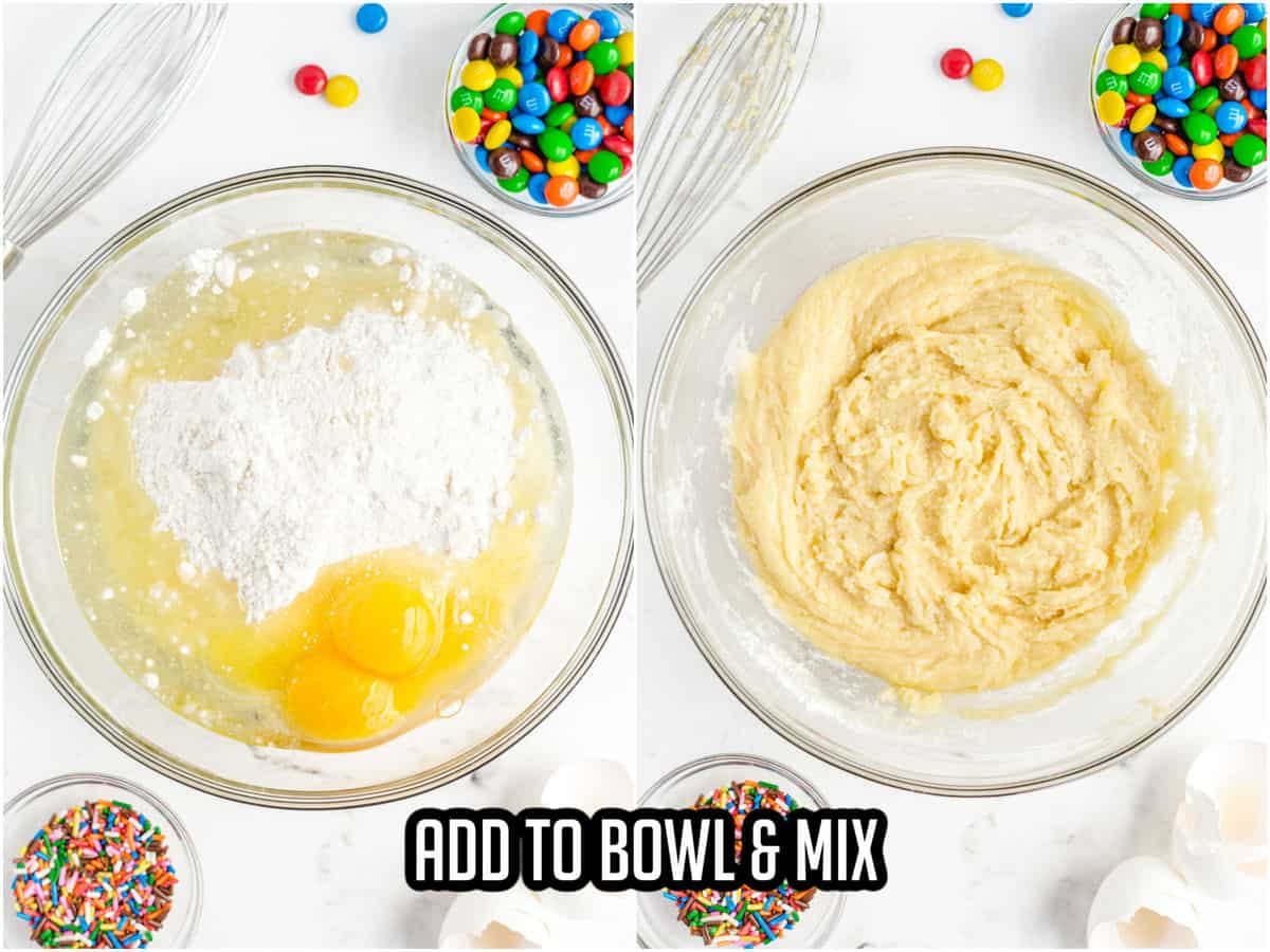 glass bowls with cake mix cookie ingredients