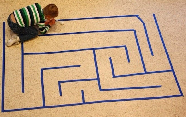 Painters tape maze - the possibilities are endless on a cold winter day