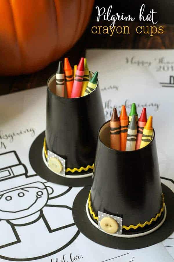 Pilgrim Hat Crayon Cups by Lil Luna