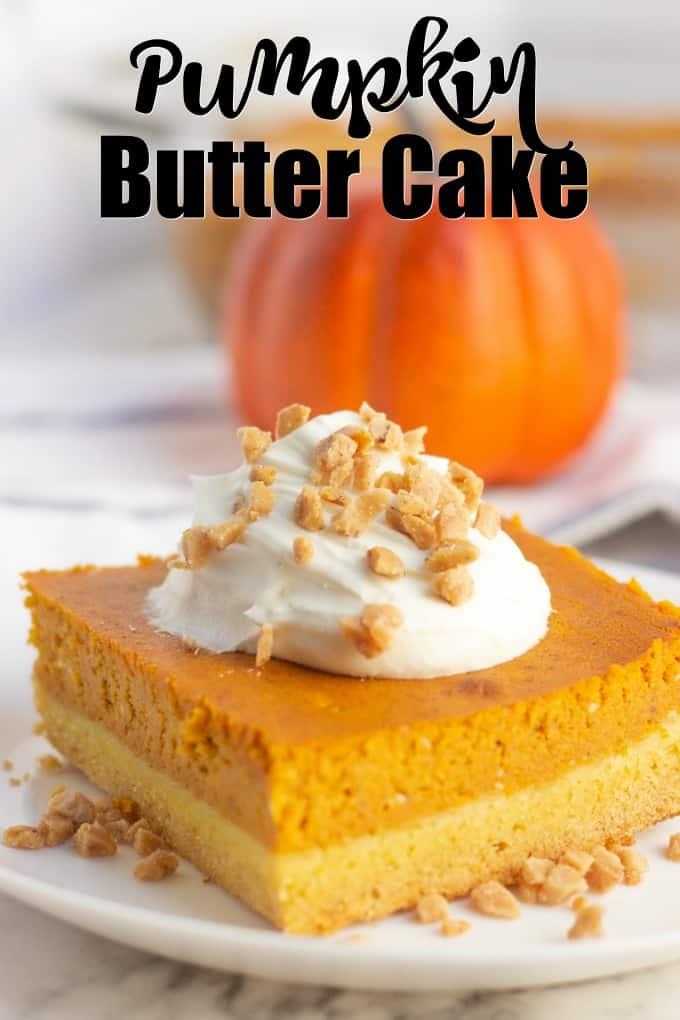 pumpkin butter cake on a white plate