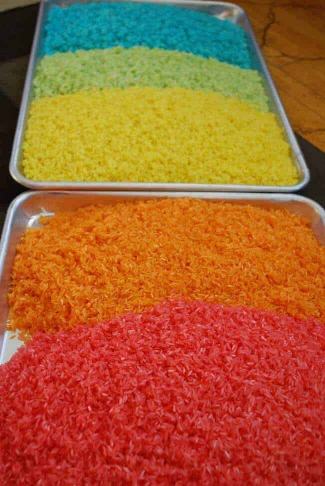 Make your own rainbow rice - hours of entertainment!