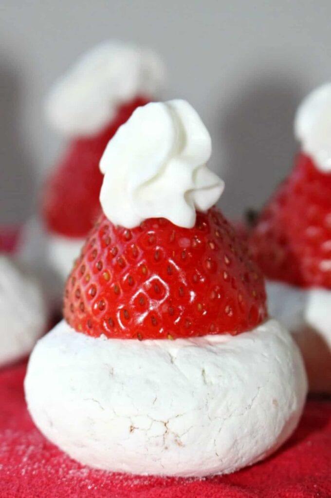 strawberry donut santa hat
