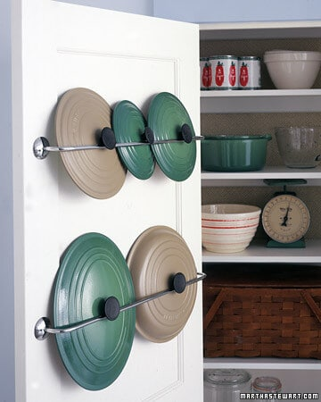 Towel Bar Pot Racks via Martha Stewart
