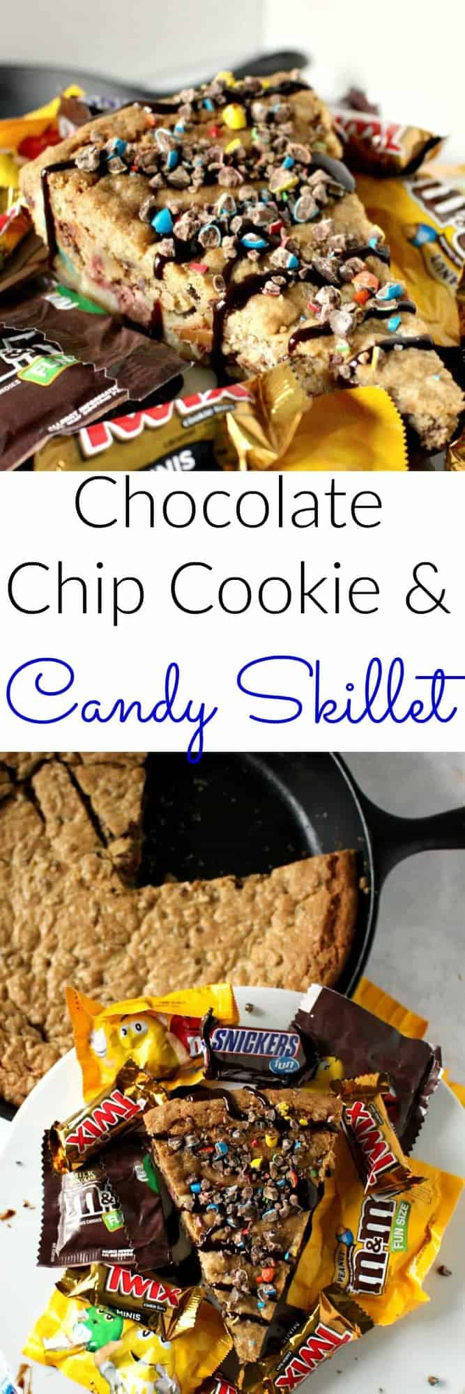 Chocolate Chip Cookie and Candy Skillet - loaded up with all of your favorite candy
